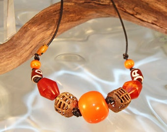 African Trade Bead and Amber Necklace