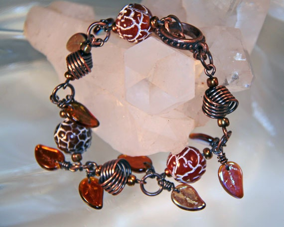 Knotty Girl Bracelet in Copper with Glass Leaves and Fire Agate