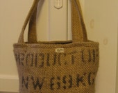Upcycled Mini Tote Burlap Bag