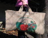Recycled Burlap (Coffee Sack) Firewood Log Tote