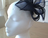 Navy Blue Petals Fascinator, Sinamay and Feather, on a comb. Weddings, Races, Ascot, Melbourne Cup
