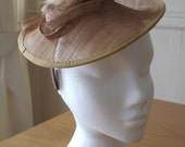 Saucer Fascinator in Latte Coffee Brown, Sinamay and Feather on a hairband, weddings, races