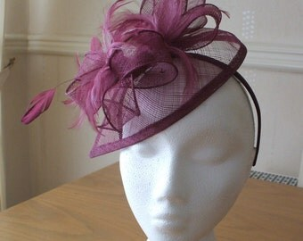 Burgundy Wine Fascinator and Feather Fascinator on a hairband, races, weddings, special occasions
