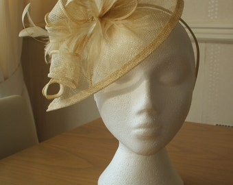 Champagne Gold Fascinator and Feather Fascinator on a hairband, races, weddings, Kentucky Derby, Ascot, Mother yof the Bride