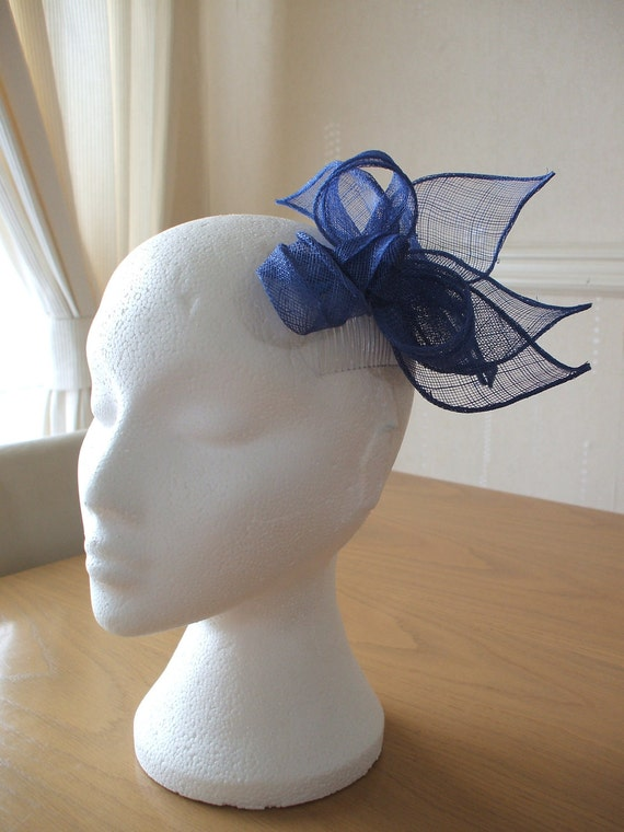 Cobalt Blue, Knot and Sinamay Leaf Fascinator, Races, Weddings, Prom, Cruise
