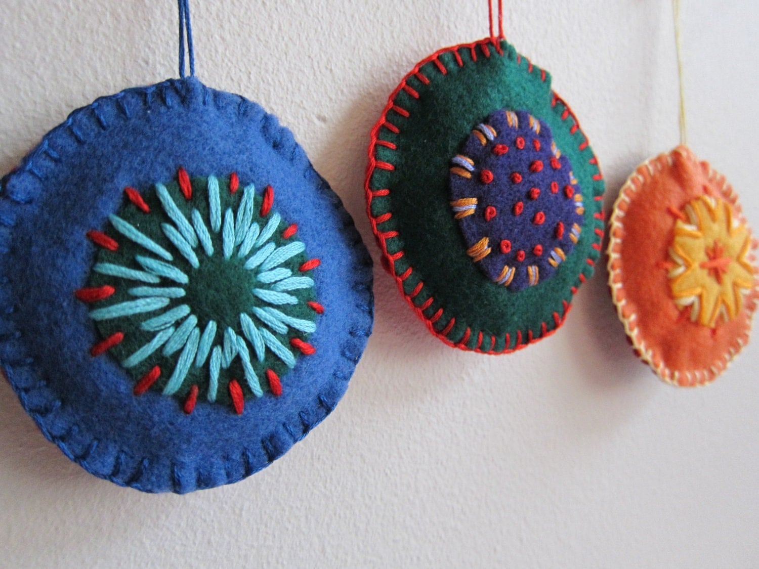 Christmas Ornament Set of 3 Hand Embroidered Ornaments Blue