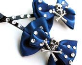 Sparkle Skull Pinup Bow Pair Dark Blue