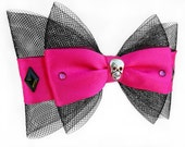 80s inspired PINK crystal and mesh pinup bow