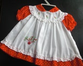 RESERVED FOR LISA 1960's Baby Girl Dress Faux Smock with Embroidery