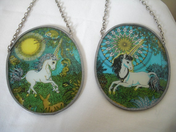 2 Vintage Unicorn Suncatchers