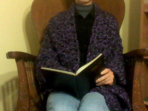 SALE - Reiki prayer shawl in rich purples