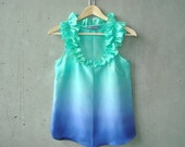 Ruffled Seafoam Green to Navy Ombré Blouse - ruffle neckline, hand dye-painted and hand sewn