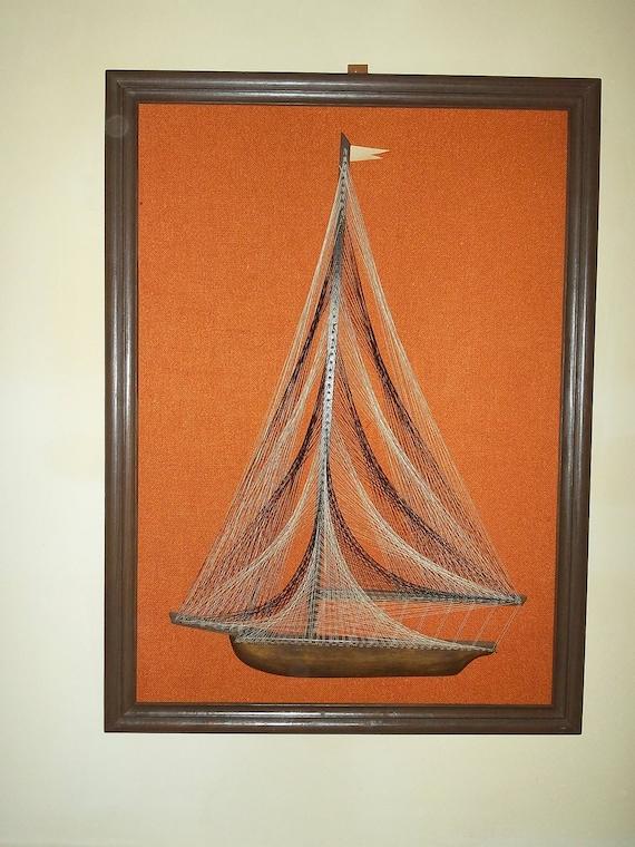 1960s Mid Century Orange Sailboat String Art