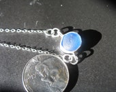 genuine English UK seaglass electric blue bezel necklace