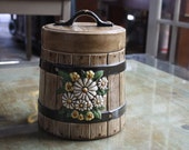 SALE - Vintage Ceramic Barrel Jar with White Daisies
