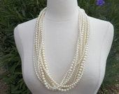 Vintage 6 Strand Faux Pearl Necklace