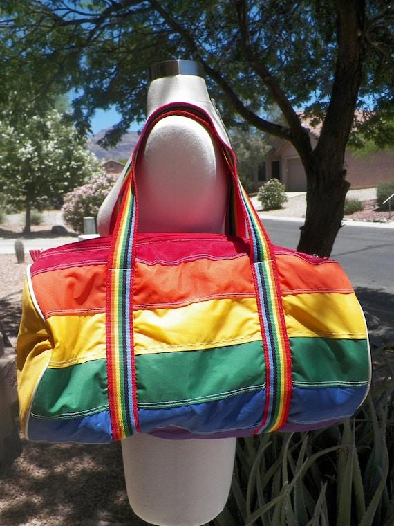 Vintage Rainbow Duffle Bag