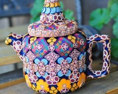 Polymer Clay Teapot 3D Bohemian Geometric, Floral, Blue, Colorful