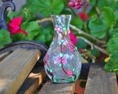 ON SALE! Small Floral Clay Vase of Polymer Clay with brown stems