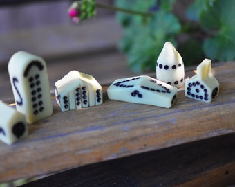 Glow in the Dark Miniature Houses 1 - It takes a Village - Cream with Black Dots Polymer Clay