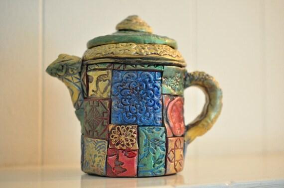 Polymer Clay Teapot, Metallic, Stamped tiles, Mosaic