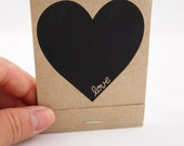 Heart-Love List Screenprinted Matchbook Notepad