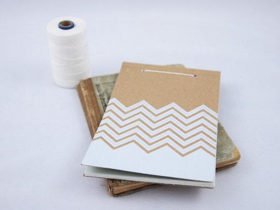 Screenprinted Manila Folder Tie Notepad - Chevron Design