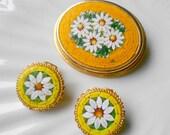 Vintage brooch & earrings, micro mosaic italian venetian glass tile daisies jewelry
