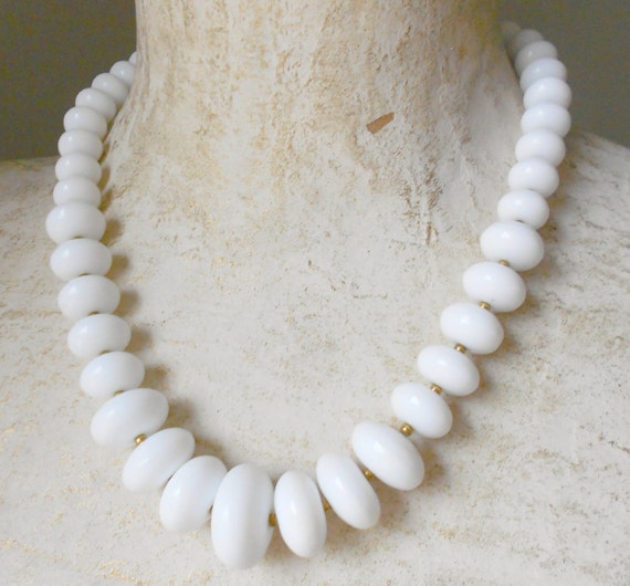 Reserved for Kimberly- milk glass graduated disc beads w/ gold spacers