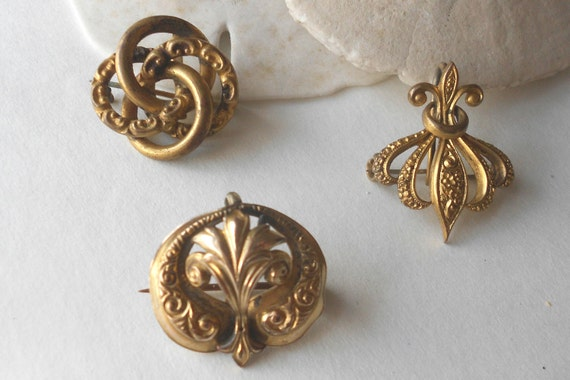 Antique watch pins- 3 piece lot gold filled victorian pocketwatch jewelry