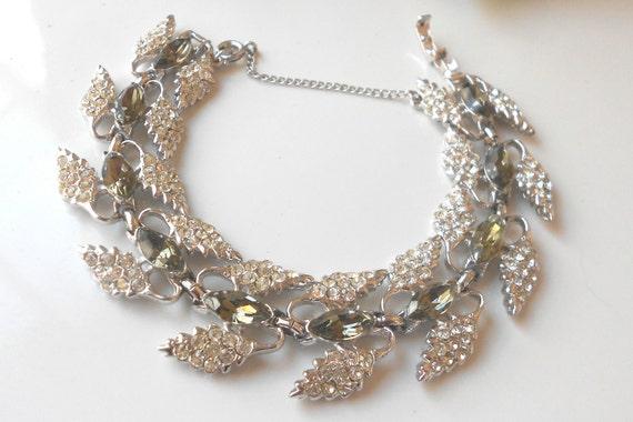 Vintage rhinestone bracelet signed Bogoff bridal jewelry for wedding- bridesmaids