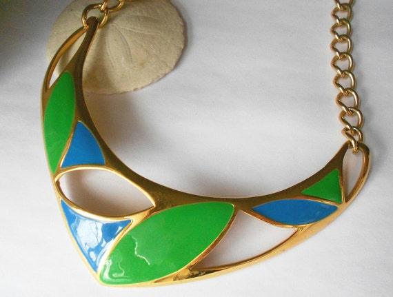 Vintage designer signed Monet enamel collar necklace statement jewelry