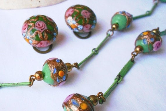 Vintage necklace & earrings Italian murano glass wedding cake venetian jewelry set
