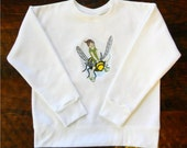 Embroidered Bumblebee Transports Fairy on White Sweatshirt for Girls