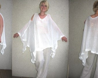 Eco friendly knitted linen white  tunic-poncho