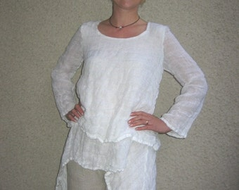 Eco friendly linen blouse made of two layers of tissue