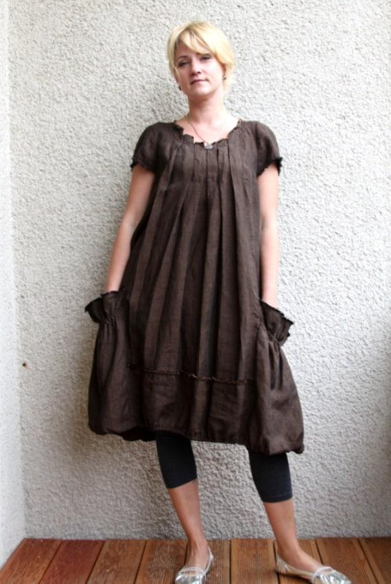 Eco friendly brown  linen dress - tunic