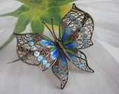 European 800 Silver Enameled Butterfly Pin