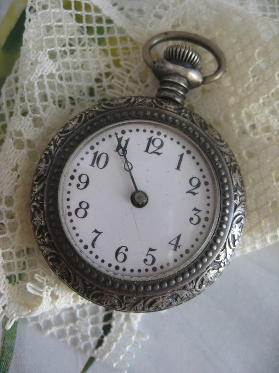 Antique Sterling Silver Pocket Watch    For Project