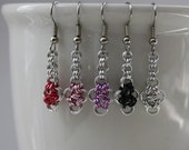 Tiny Chainmaille Japanese Cross Earrings, Your Choice of Color