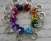 10 Chainmaille Rainbow Roses Stitch Markers
