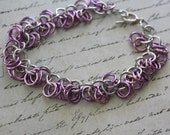 Chainmaille Pastel Purple and Pink Shaggy Loops Bracelet