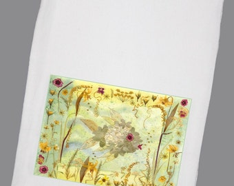 Pressed Flower Fish Art Flour Sack Towel
