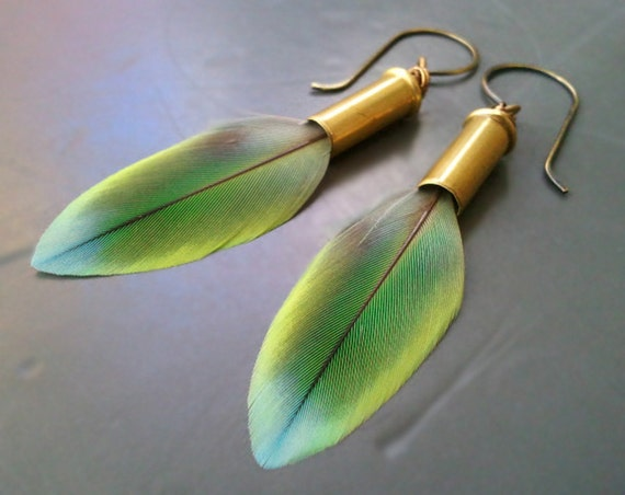 Bullet and Lovebird Feather Earrings