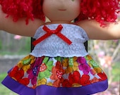 "14-16"" Bamboletta Waldorf Doll bright floral skirt and  gathered tube top"