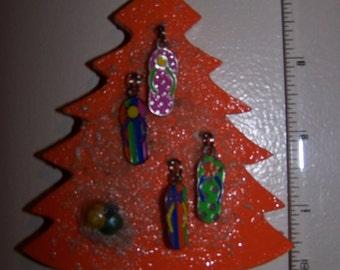 Christmas Tree Ornament Flip-Flop Orange