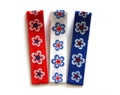 SALE - 25% OFF! Set of 3 Patriotic Flowers No Slip Hair Clippies
