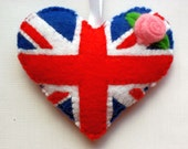 Felt UK GB Flag Love Heart Valentines Wedding Christmas ornament United Kingdom Great Britain British Union Jack