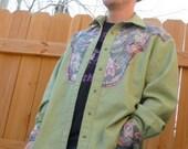 Sage Green Hemp Rustic Style Western Shirt