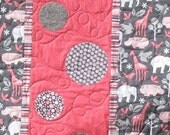 Baby Shower Gift Girl Crib Quilt Free US Shipping Pink Gray Animals